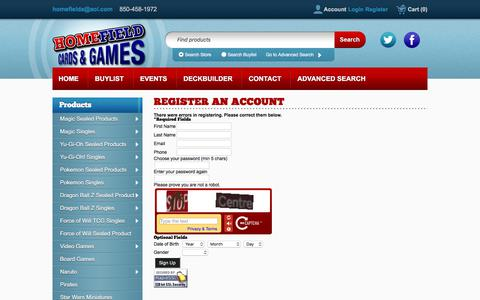 Screenshot of Signup Page crystalcommerce.com - Home Field Cards & Games - - captured Aug. 18, 2017