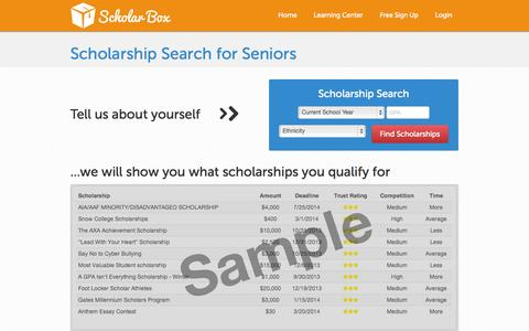 Screenshot of Trial Page scholar-box.com - Scholarship Search Made Easy | Scholar Box - captured Sept. 30, 2014