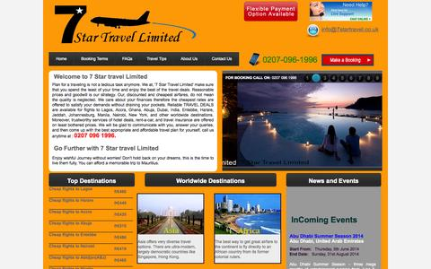Screenshot of Home Page 7startravel.co.uk - Book cheap flights to worldwide, holidays & hotels with 7startravel.co.uk - captured Oct. 6, 2014