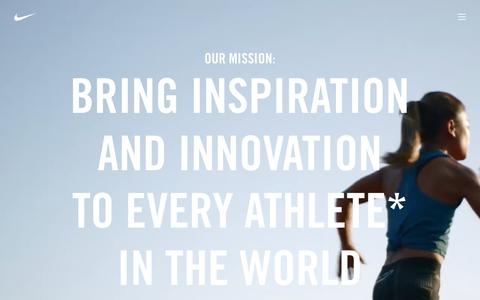 Read Nike's Mission Statement and find information about NIKE, Inc. innovation, sustainability, community impact and more