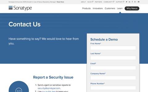 Screenshot of Contact Page sonatype.com - Sonatype | Contact Us - captured Feb. 17, 2017
