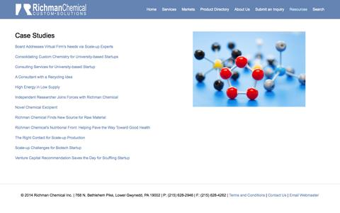Screenshot of Case Studies Page richmanchemical.com - Case Studies — Richman Chemical Inc. | Custom Synthesis | Toll Manufacturing | Raw Material Sourcing - captured Oct. 26, 2014