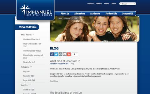Screenshot of Blog icsva.org - Blog - Immanuel Christian School Immanuel Christian School - captured Oct. 14, 2017