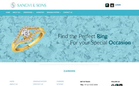Screenshot of Jobs Page sanghvisons.com - Sanghvi & Sons | Buy Loose Diamonds in India,Buy Certified Diamonds in India,Buy Cheap Loose Diamonds in India - captured July 25, 2018