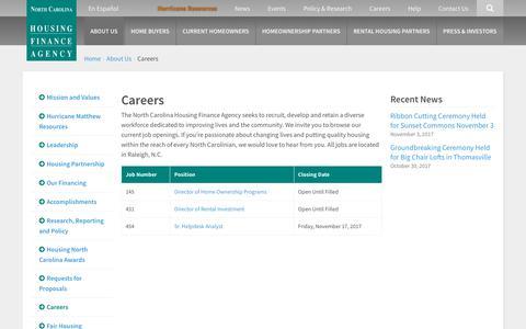 Screenshot of Jobs Page nchfa.com - Careers | North Carolina Housing Finance Agency - captured Nov. 13, 2017