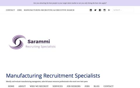 Screenshot of Services Page sarammi.com - Services – Manufacturing Recruitment Specialists - captured Nov. 19, 2016