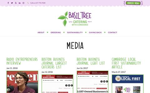 Screenshot of Press Page basiltree.com - Media and News | Basil Tree Catering Home Page - captured Oct. 5, 2018