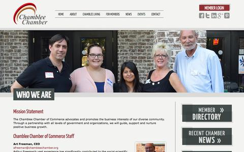 Screenshot of About Page chambleechamber.org - Who We Are   Chamblee Chamber of Commerce - captured Oct. 27, 2014