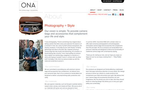 Screenshot of About Page onabags.com - ONA    About  Us   Fine Camera Bags + Accessories - captured Oct. 26, 2014