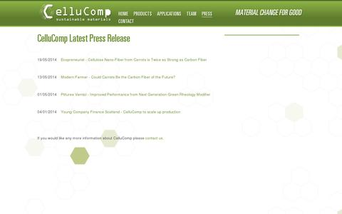 Screenshot of Press Page cellucomp.com - CelluComp - Who we are and what we do - captured July 19, 2014