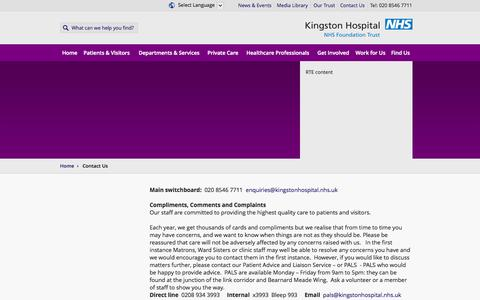 Screenshot of Contact Page kingstonhospital.nhs.uk - Kingston Hospital | Contact Us - captured Oct. 6, 2014