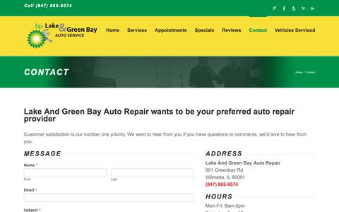Screenshot of Contact Page wilmettebp.com - Local Auto Repair - Car Shops Near Me | Lake And Green Bay BP, Inc - captured Sept. 26, 2018
