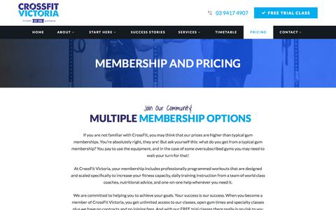 Screenshot of Pricing Page crossfitvictoria.com - Membership and Pricing | CrossFit Victoria, Melbourne, CrossFit Fitzroy Victoria, Melbourne, Fitzroy - captured Dec. 15, 2017