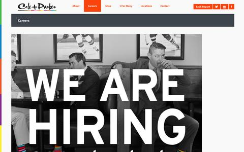 Screenshot of Jobs Page coleandparker.co - Cole And Parker - Bold socks that start businesses - Careers - captured Sept. 30, 2014
