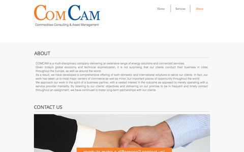 Screenshot of About Page comcam.pro - COMCAM is a multi-disciplinary company delivering energy solutions - captured Aug. 15, 2017