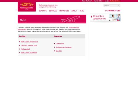 Screenshot of About Page corporatetraveller.co.nz - Business Travel Experts - About Us   Corporate Traveller - captured Oct. 3, 2014