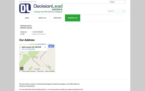 Screenshot of Contact Page decisionlead.com - Contact Us   Decisionlead - captured Oct. 5, 2014