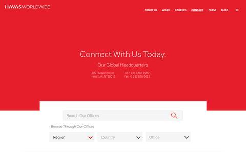Screenshot of Contact Page havasworldwide.com - Contact Us | Havas Worldwide - captured July 12, 2016