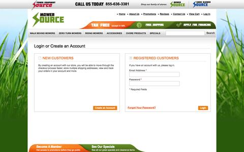 Screenshot of Login Page mowersource.com - Customer Login | Mower Source - captured Oct. 2, 2014