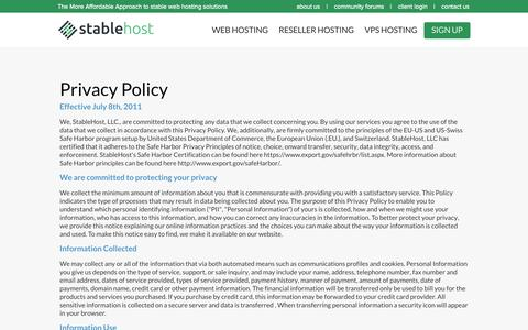 Privacy Policy | StableHost