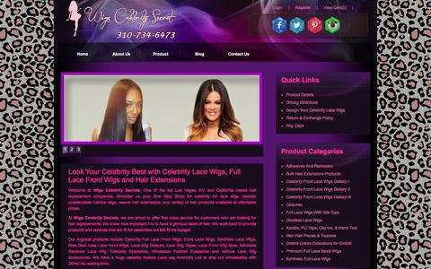 Screenshot of Home Page wigscelebritysecret.com - Synthetic Wigs, Celebrity Full Lace Front Wig, Hair Extension - captured Feb. 4, 2016