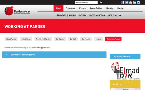 Screenshot of Jobs Page pardes.org.il - Working at Pardes - Pardes Jewish Study Programs in Israel - captured Jan. 29, 2018