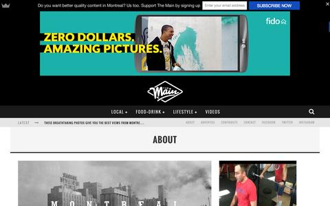 Screenshot of About Page themainmtl.com - About | The Main MTL - captured Sept. 24, 2015