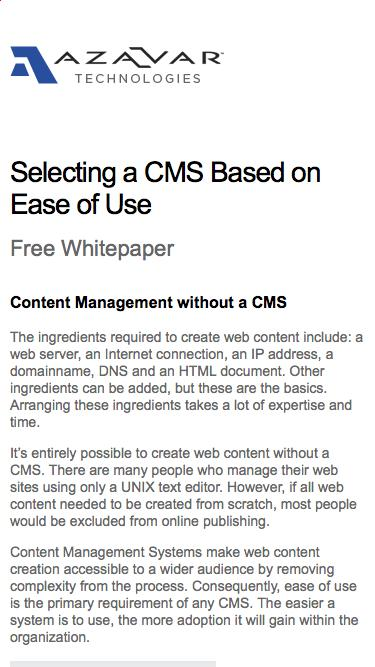 Selecting a CMS Based on Ease of Use