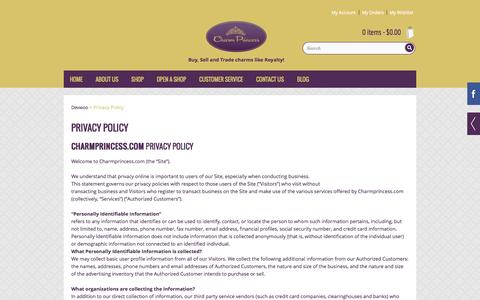 Screenshot of Privacy Page charmprincess.com - Privacy Policy - Devwoo - captured Oct. 2, 2014