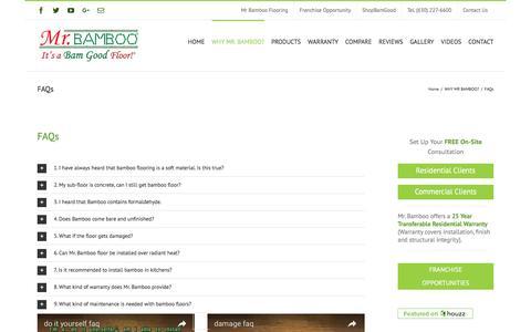 Screenshot of FAQ Page mrbambooflooring.com - FAQs - Mr Bamboo Flooring® - captured Dec. 19, 2016
