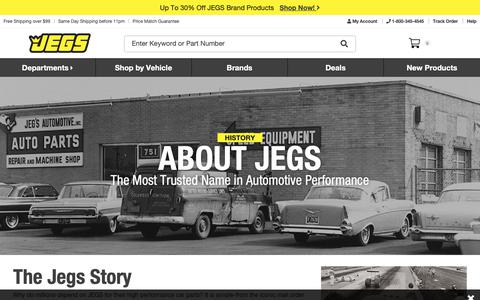 Screenshot of About Page jegs.com - About Us | JEGS - captured Nov. 7, 2018