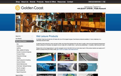 Screenshot of Products Page goldenc.co - Golden Coast Wet Leisure Products - captured Oct. 3, 2014