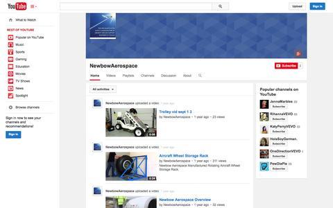 Screenshot of YouTube Page youtube.com - NewbowAerospace  - YouTube - captured Nov. 4, 2014