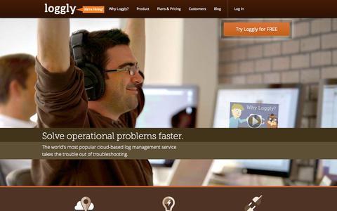 Screenshot of Home Page loggly.com - Log Management | Cloud Log Management Service | Loggly - captured Sept. 16, 2014