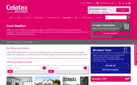 Screenshot of Case Studies Page celotex.co.uk - Celotex Insulation Case Studies - captured July 19, 2017