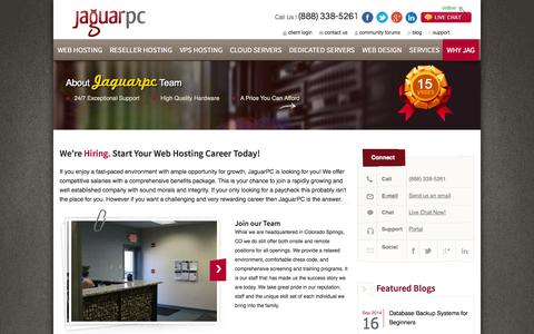 Screenshot of Jobs Page jaguarpc.com - Careers | Web-Hosting Jobs and Opportunities with JaguarPC - captured Sept. 18, 2014