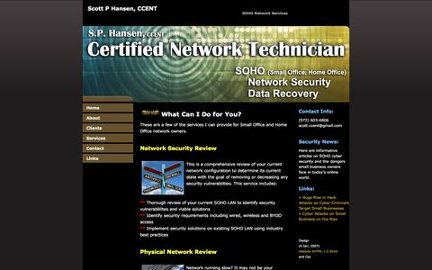 Screenshot of Services Page sphansengames.com - SP Hansen Certified Network Technician - captured May 26, 2017
