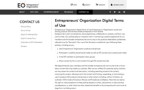 Screenshot of Terms Page eonetwork.org - Terms of Use - captured June 1, 2018