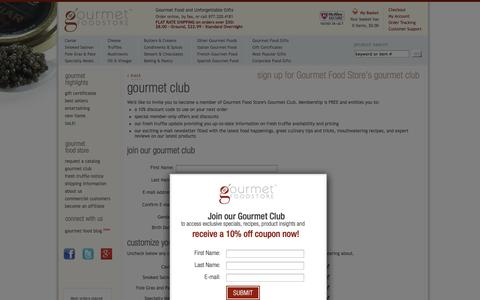 Screenshot of Signup Page gourmetfoodstore.com - Gourmet Food Store's Gourmet Club - Gourmet Food Store - captured Oct. 28, 2014