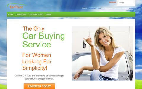 Screenshot of Home Page cartrustcanada.com - CarTrust puts women in the driver seat! - captured Oct. 2, 2014