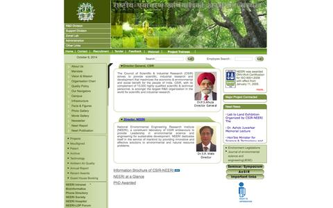 Screenshot of Home Page neeri.res.in - :: National Environmental Engineering Research Institute :: - captured Oct. 9, 2014