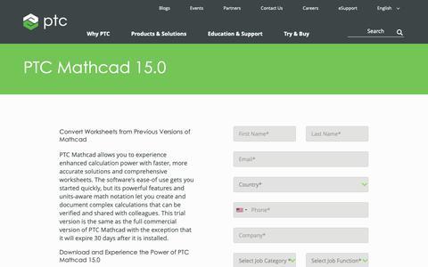 Screenshot of Trial Page ptc.com - Download PTC Mathcad 15.0  Free | PTC - captured Nov. 13, 2018