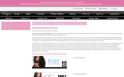Screenshot of Pricing Page indiquehair.com - Hair Extensions Price - captured June 30, 2017