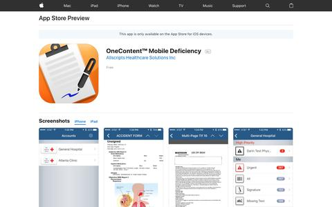 OneContent™ Mobile Deficiency on the App Store