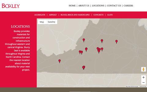 Screenshot of Locations Page boxley.com - Aggregate, Asphalt, Masonry, Concrete Locations | Boxley - captured Nov. 13, 2018