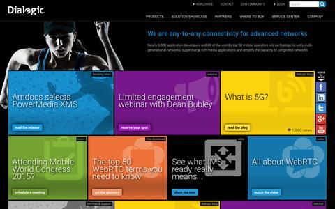 Screenshot of Home Page dialogic.com - Diameter, WebRTC, BorderNet SBC, ControlSwitch, PowerMedia, Network Fuel® - captured Jan. 15, 2015