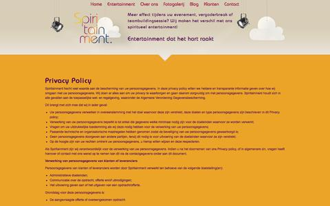 Screenshot of Privacy Page spiritueelentertainment.nl - Privacy Policy | Spiritainment hecht waarde aan uw privacy! - captured Sept. 25, 2018