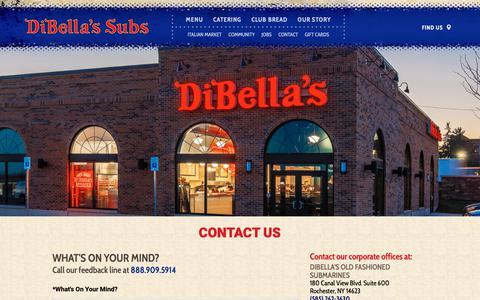 Screenshot of Contact Page dibellas.com - DiBella's Subs | Contact us - captured Oct. 9, 2018