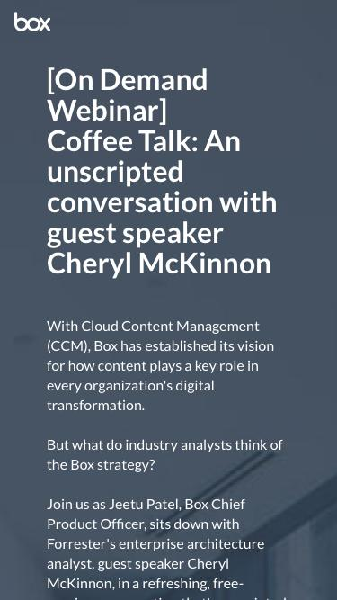 Coffee Talk: An unscripted conversation with guest speaker Cheryl McKinnon
