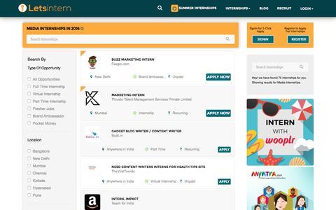 Screenshot of Press Page letsintern.com - Media Internships  | Internship in Media | LetsIntern - captured Aug. 20, 2016